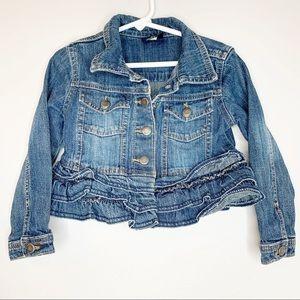 Genuine Kids Osh Kosh Girls Ruffle Jean Jacket 4T
